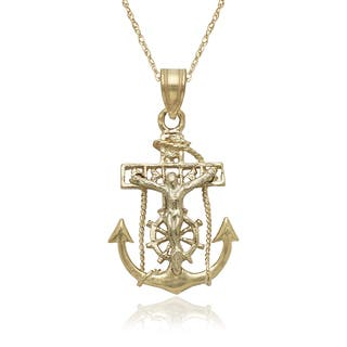 14k Two-tone Gold Mariners Cross Pendant 16-inch Gold-filled Chain Necklace|https://ak1.ostkcdn.com/images/products/11373417/P18342930.jpg?impolicy=medium