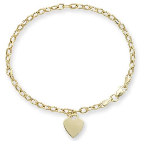 14k Gold Designer Heart Charm Rolo Bracelet