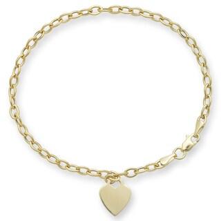 Link to 14k Gold Designer Heart Charm Rolo Bracelet Similar Items in Bracelets
