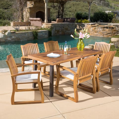Della Outdoor 7-piece Wood Dining Set by Christopher Knight Home