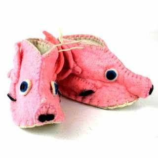 Handmade Felt Piggy Zooties Baby Booties (Kyrgyzstan)