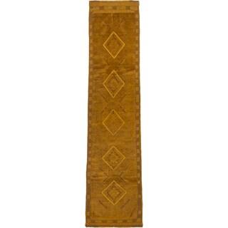 ecarpetgallery Hand-knotted Tajik Caucasian Brown Wool Runner Rug (1'11 x 8'3)