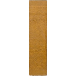 ecarpetgallery Hand-knotted Tajik Caucasian Brown Geometric Wool Runner Rug (2' x 8'5)