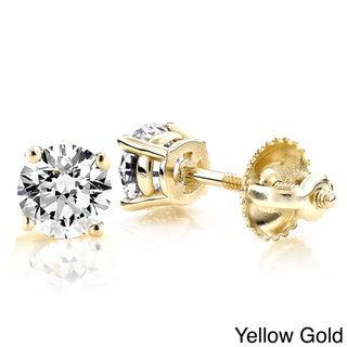 Luxurman 18k Gold 1ct TDW Prong Diamond Stud Earrings (H-I, SI1-SI2)