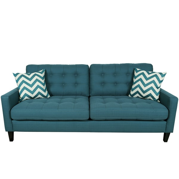 Porter Harlow Deep Teal Contemporary Modern Sofa with Woven Chevron Accent Pillows - Free ...
