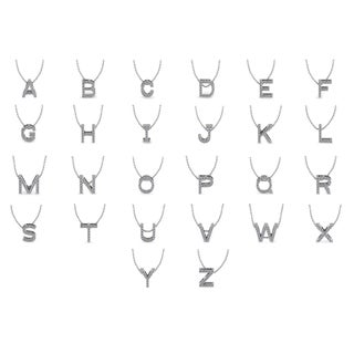 Initial 14k White Gold 13 Diamond Necklace - All Letters Available (H-I, I1-I2)
