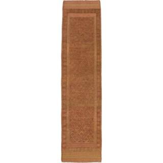 ecarpetgallery Tajik Caucasian Brown/ Orange Hand-knotted Wool Runner Rug (1'11 x 8')