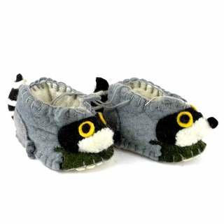 Handmade Felt Raccoon Zooties Baby Booties (Kyrgyzstan)
