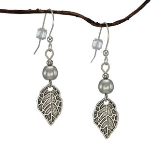 Jewelry by Dawn Silver Antique Pewter Leaf Earrings