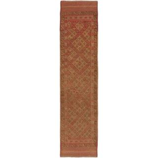 ecarpetgallery Hand-knotted Tajik Caucasian Brown/ Orange Geometric Wool Runner Rug (1'11 x 8')