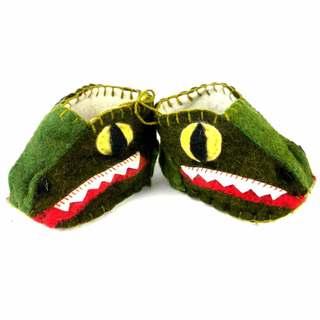 Handmade Felt Alligator Zooties Baby Booties (Kyrgyzstan)