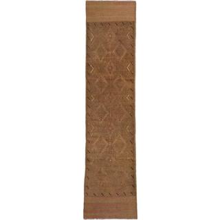 ecarpetgallery Hand-knotted Tajik Caucasian Brown/ Green Wool Runner Rug (1'11 x 8')