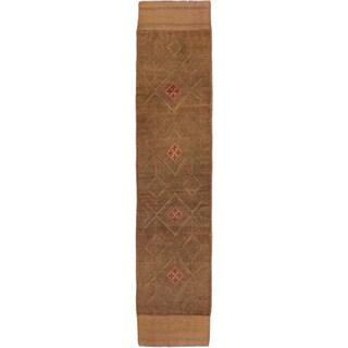 ecarpetgallery Hand-knotted Tajik Caucasian Brown/ Green Wool Runner Rug (1'11 x 8'5)