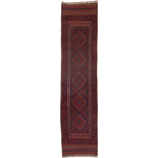 ecarpetgallery Hand-knotted Tajik Caucasian Blue/ Red Geometric Wool Runner Rug (2' x 8'1)