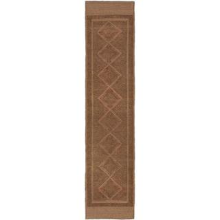 ecarpetgallery Hand-knotted Tajik Caucasian Brown/ Green Wool Runner Rug (1'10 x 8'3)