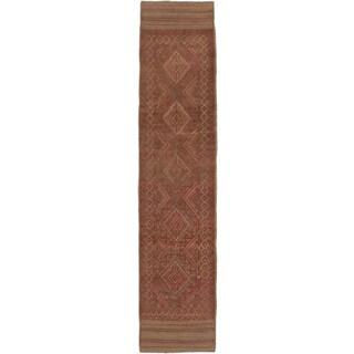 ecarpetgallery Hand-knotted Tajik Caucasian Brown/ Orange Wool Runner Rug (1'11 x 8'5)