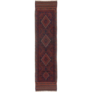 ecarpetgallery Hand-knotted Tajik Caucasian Blue/ Red Wool Hand-knotted Runner Rug (2' x 8'2)