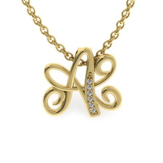 Initial 10k Yellow Gold Necklace with 6 Diamonds - All Letters Available