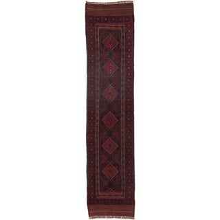 ecarpetgallery Hand-knotted Tajik Caucasian Blue/ Red Wool Runner Rug (1'11 x 8'8)