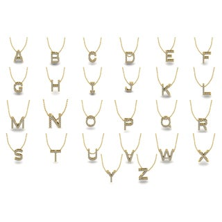 Initial 14k Yellow Gold Necklace with 13 Diamonds - All Letters Available