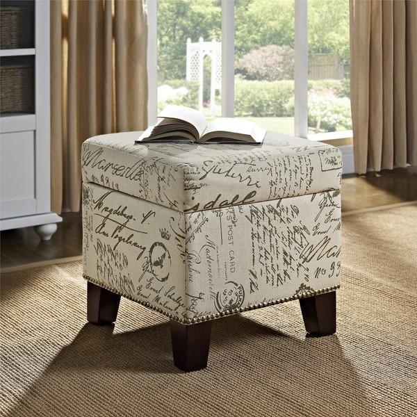 Dorel Living Blake Script Cube Ottoman Free Shipping