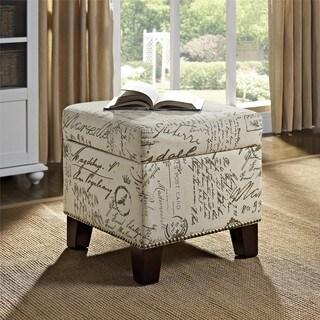 Dorel Living Blake White/Brown Fabric/Wood Script Cube Ottoman