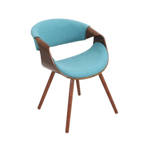 Teal accent chair with arms - Curvo Mid Century Modern Chair In Walnut Wood 18343309