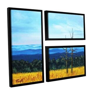 ArtWall 'Gene Foust's Serene Mountain Tops' 3-piece Floater Framed Canvas Flag Set