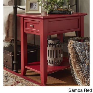 Zayden 1-drawer Side Table with Charging Station by iNSPIRE Q Bold (Option: Samba Red)