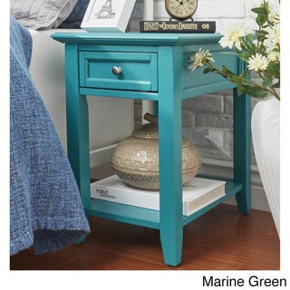 Zayden 1-drawer Side Table with Charging Station by iNSPIRE Q Bold (Option: Marine Green)