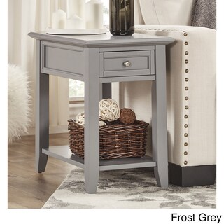 Zayden 1-drawer Side Table with Charging Station by iNSPIRE Q Bold (Option: Frost Grey)
