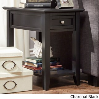 Zayden 1-drawer Side Table with Charging Station by iNSPIRE Q Bold (Option: Charcoal Black)