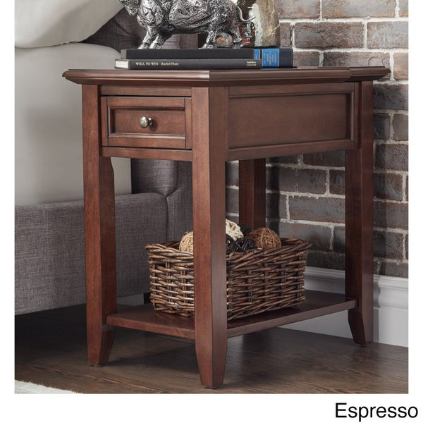 Zayden 1 Drawer Side Table With Charging Station By INSPIRE Q Bold   Free  Shipping Today   Overstock.com   18343269
