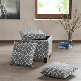 Madison Park Allison Grey Square Storage Ottoman with 2 Pillows