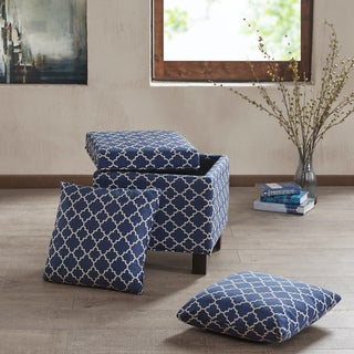 Madison Park Allison Navy Square Storage Ottoman with Pillows