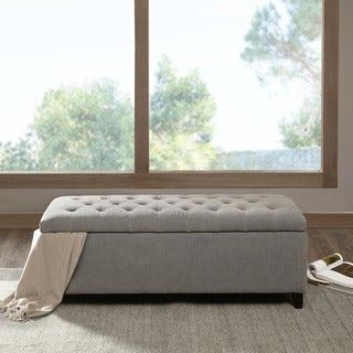 Madison Park Sasha Grey Tufted Top Storage Bench