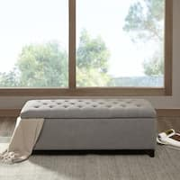 Clay Alder Home Campbell Sasha Grey Tufted Top Storage Bench