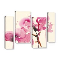 ArtWall 'Karin Johannesson's Orchids I' 4-piece Gallery Wrapped Canvas Staggered Set - Multi