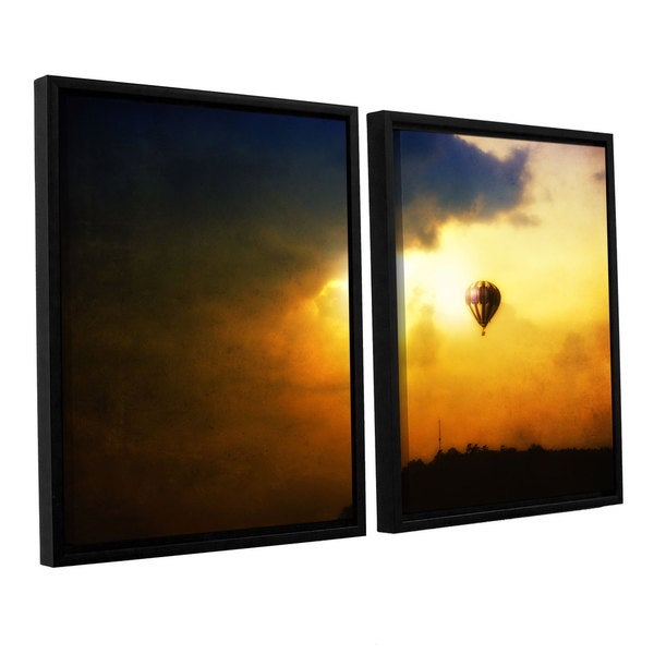 ArtWall 'Dragos Dumitrascu's Close Enough' 2-piece Floater Framed Canvas Set - Yellow/Black