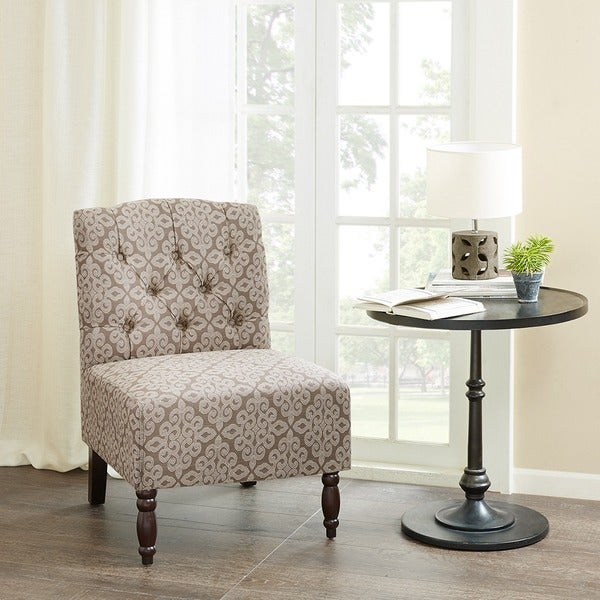 madison park lina light brown tufted armless chair free shipping