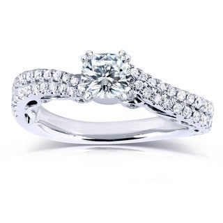 Annello by Kobelli 14k White Gold 1 1/10ct Moissanite and 2/5ct TDW Diamond Curved Engagement Ring