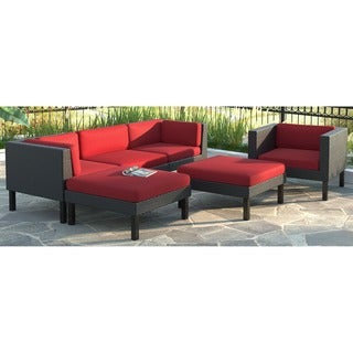 CorLiving Oakland 6pc Sofa with Chaise Lounge and Chair Patio Set