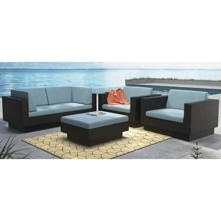 CorLiving Park Terrace 5pc Textured Black Weave Sofa Patio Set