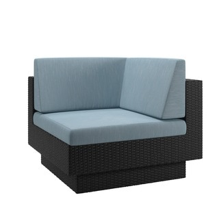 CorLiving Park Terrace Patio Corner Seat in Textured Black Weave
