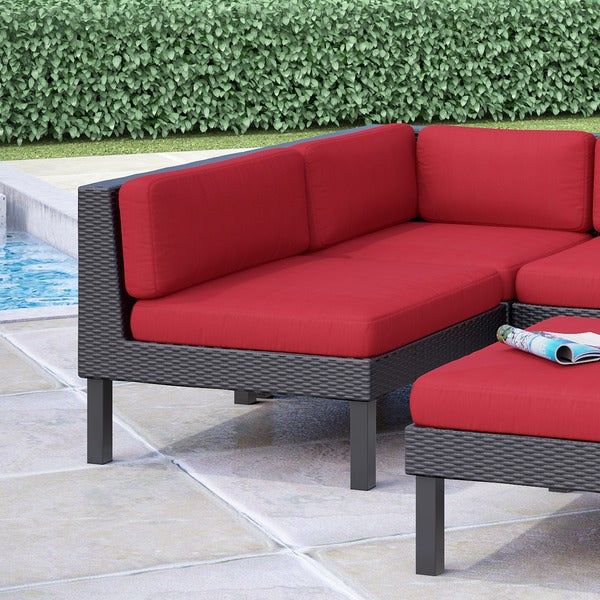 Oakland Patio Middle Seat In Textured Black Weave Red Cushions