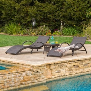 Christopher Knight Home Acapulco Outdoor 3-piece Wicker Folding Armed Chaise Lounge Set