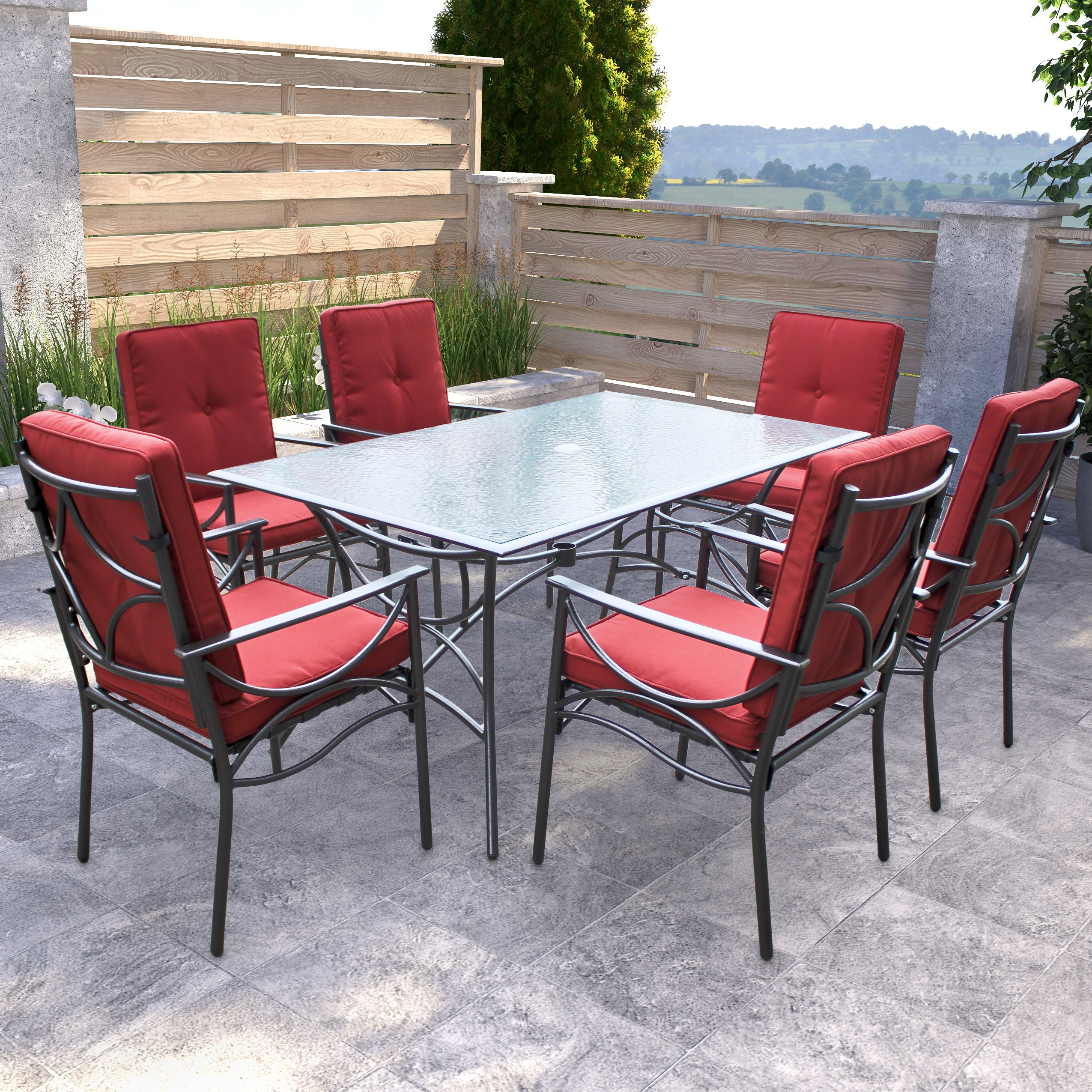 CorLiving 7pc Charcoal Black and Red Patio Dining Set (7p...