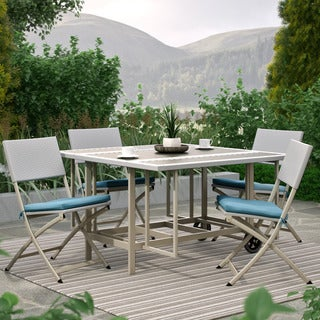 CorLiving Nantucket 5pc Taupe and Teal Stowable Folding Patio Dining Set