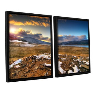 ArtWall 'Dragos Dumitrascu's The Winter Sun' 2-piece Floater Framed Canvas Set
