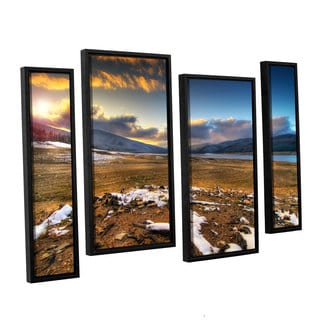 ArtWall 'Dragos Dumitrascu's The Winter Sun' 4-piece Floater Framed Canvas Staggered Set